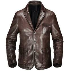Menand039s Leather Jacket Hunting Style Stylish Blazer Business Casual Spring Fall L