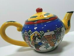 Catzilla Christmas Cats Teapot With Snowman Candace Reiter Festive 2002
