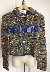 Signatures Vintage Green Tie Material Cardigan W Penny Buttons Xs