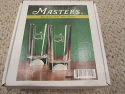 New Masters Augusta National Fore 16 Oz Ale Drinking Glasses 2 Golf Ball
