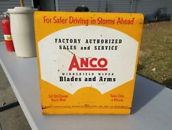 1950's Anco Windshield Wiper Arm And Blades Gas Station Metal Display Cabinet Sign
