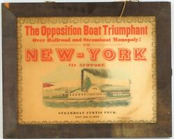 Antique Historical Steamboat Curtis Peck New York Via Newport Travel Poster Nyc