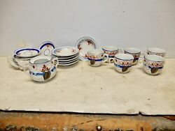 Antique French Porcelain Childs Tea Set With Old Wooden Case