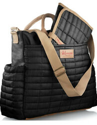 Maman Designer Diaper Bag With Matching Changing Pad Black w Tan and Red NWT $45.77