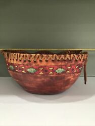 Mid West Aztec Carved Wooden Bowl With Leather Accent