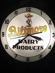 """Vintage Rare Biltmore Dairy Double Bubble Wall Clock Lighted Works 15"""""""