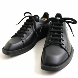 New Berluti Stella With Logo Leather Sneakers Size 7 Black With Storage Bag