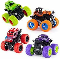 4 Pcs Gift, Push And Go Toy Trucks Friction Powered Cars 4 Wheeler For Toddlers