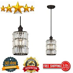 Indoor Mini Pendant One-light Oil Rubbed Bronze Finish With Crystal Prism Glass