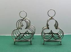 2 Antique Sterling Silver Toast Racks X 2 Gothic Design Hallmarked T.b And S 1910