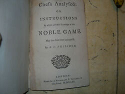 1762 A D Philidor / Chess Analysed Or Instructions By Which A Perfect Knowledge