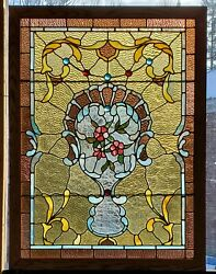 Large Victorian Stained Glass Window Floral Center 34 X 46