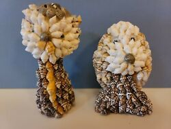 Vintage Seashell Covered Animals Figurines Cat Dog Collectibles Pair