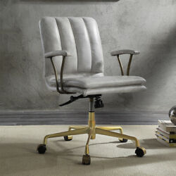 Damir Deluxe Home Office Executive Chair White Top Grain Leather Wheels Base