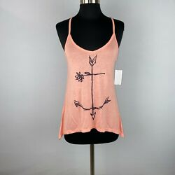 O'neill Womens S Flower Arrows Sea Anchor Sketch Tank Top Pointed Sides Nwt