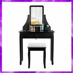 Vanity Dressing Table Set Square Mirrored With 3 Storage Boxes Makeup Stool New