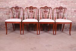 Baker Furniture French Carved Mahogany Dining Chairs, Set Of Four