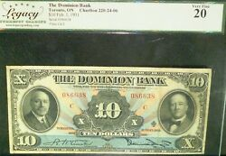 1931 10 The Dominion Bank ,canada Chartered Banknote  Charlton 220-24-06
