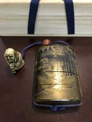 Japanese Inro Antique Wooden Medicine Case Pillbox With Netsuke And Box Excellent