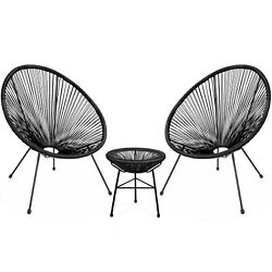 3pcs Acapulco Chair All-weather Outdoor Hammock Weave 2 Chair Glass Table Black