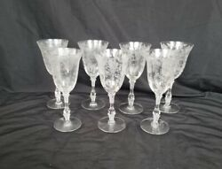 Vintage Cambridge Rose Point Crystal 3121 10-ounce Tall Water Goblet Lot X 7