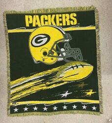 Green Bay Packers Nfl Football Tapestry Throw Blanket Northwest Company 4'x4.5'