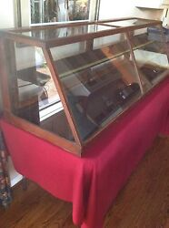 Antique Display Case For Table Top 70w X 21t X 23d With Slant Front