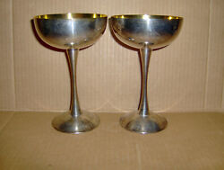 2 Eales 1779 Silverplate Silver / Gold Colored Champagne Wine Goblets Italy Epb