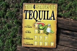 The 4 Stages Of Tequila Tin Metal Sign - Party - Jose Cuervo, Don Julio - Worm
