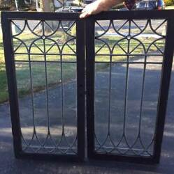 Pair Antique Leaded Glass Doors W/ Jewel - China Closet Or Library Bookcase
