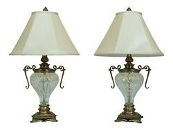 F32549ec Pair Decorative Crafts Crystal And Brass Urn Table Lamps