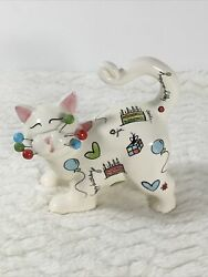 Amy Lacombe Cat WhimsiClay Happy Birthday Hand Painted 2007 Figurine #13078 Sign
