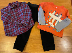 Lot Of Size 3t Tea Collection Boy Long Sleeve Shirts And Black Cord Pull-up Pant