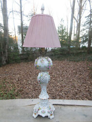 19th Century Antique Dresden Meissen Porcelain Electrified Oil Lamp And Shade