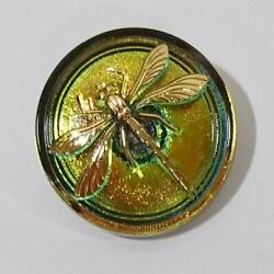 Bohemian Glass Buttons Dragonfly Czech Vintage Diameter 31mm Round Unused