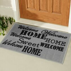 Ottomanson Usa Rugs Collection Rectangular Doormat 20 X 30 Grey/welcome H...