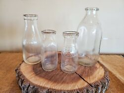 Vintage Clear Glass Milk Bottle/jars Lot Of 4 Various Sizes And Designs