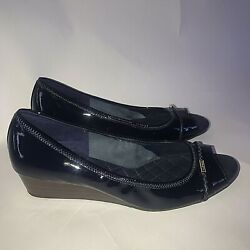 Cole Haan Grand Os Womens Emory Wedge Braid Blue Patent Leather Size 10