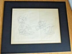Very Rare 1930s Original Two-sided Pencil Drawing Of Dopey