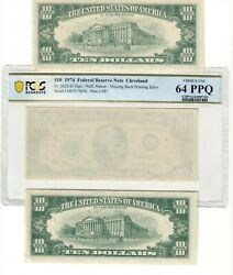 Sequential Federal Reserve Note 10 Missing Back Print Error Choice 64 Ppq Co626