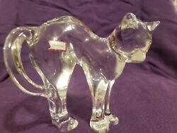 rare Vintage Baccarat Crystal Glass Paper Weight Cat Figurine Signed