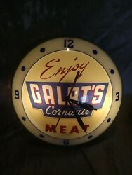Vintage Rare Galats Corndale Meat Double Bubble Wall Clock Lighted Works