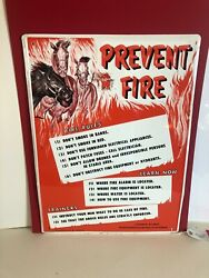 1950's Thoroughbred Racing Protective Bureau Prevent Fire Stable Barn Tin Sign