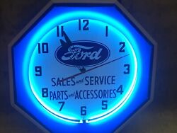 Ford Sales And Service Parts And Accessories Neon Clock Octagon New Modern Face