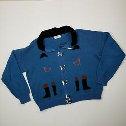 DIA NORTH OF BOSTON Vintage Cardigan Sweater Womens Beagle Buttons Blue Medium