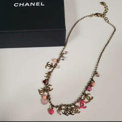 Auth Necklace Pink Pearl Coco Mark Cc Logo And03919 Limited F/s