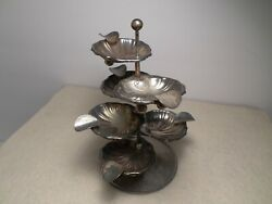 Vintage Mexican Sterling Silver Mid-century Shell Design 8-piece Ashtray Set