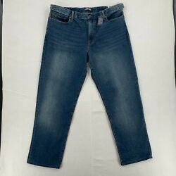 Lands End Square Rigger Mens Comfort Traditional Fit Straight Blue Jeans Sz 40
