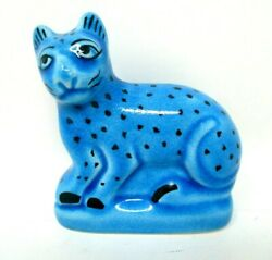 Cat Figurine Blue Turquoise with Black Spots marked dmc 3.5quot; tall