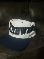 Vintage Mlb Milwaukee Brewers Spellout Logo The Game Hat Snapback Rare